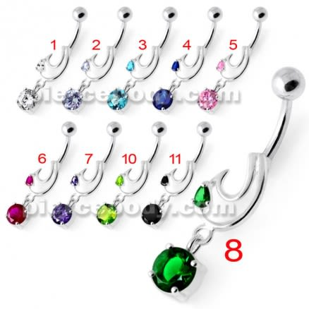 Fancy Jeweled Dangling Belly Bar PBM2087