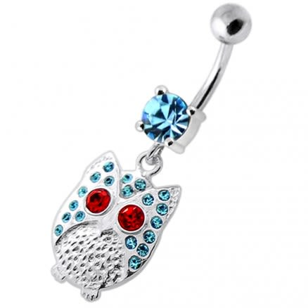 Multi Jeweled Owl Dangling Navel Banana
