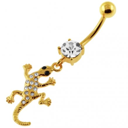 14G 10mm Yellow Gold Plated Sterling Silver Clear Jewel Gecko Lizard Belly Bar