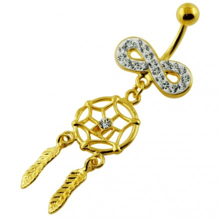 14G 10mm Yellow Gold Plated Silver Clear Jewel Infinity Dream Catcher Belly Bar
