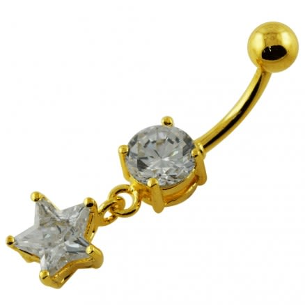 14G 10mm Yellow Gold Plated Sterling Silver Clear Jewel Hanging Star Belly Bar