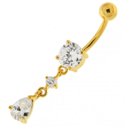 14G 10mm Yellow Gold Plated Sterling Silver Clear Jeweled Fancy Charm Belly Bar