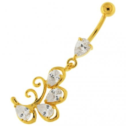 14G 10mm Yellow Gold Plated Silver Clear Jeweled Dangling Charms Belly Bar