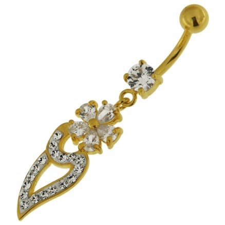 Multi Jeweled Flower Dangling Navel Belly Ring