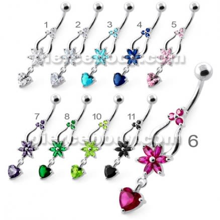 Flower with Heart Dangling Navel Belly Ring