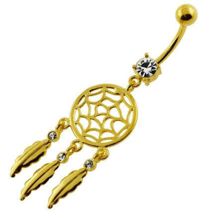 14G 10mm Yellow Gold Plated Silver Clear Jewel Classic Dream Catcher Belly Bar
