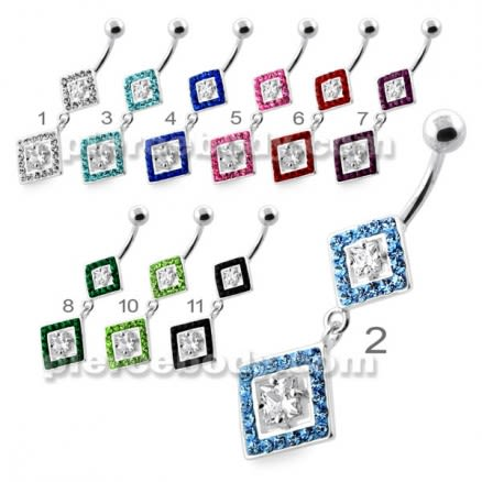 Multi Jeweled Twin Square Diamond silver belly bar