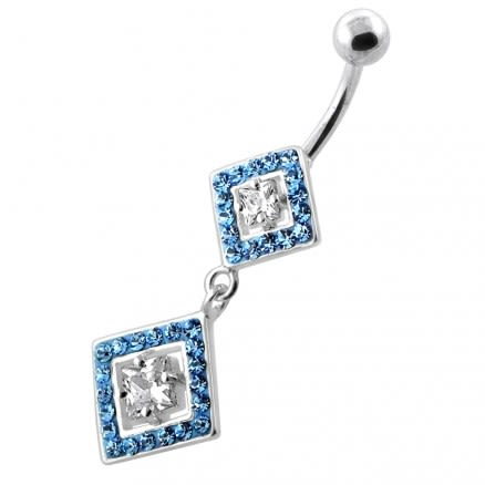 Multi Jeweled Twin Square Diamond silver belly bar