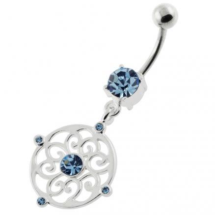 Jeweled Flower Pattern navel rings