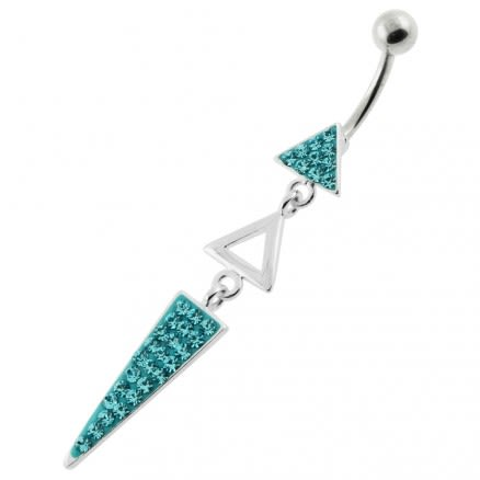 Multi Jeweled 3 Triangle belly button jewelry