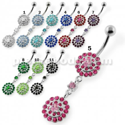 Two step Jeweled Round belly button piercing