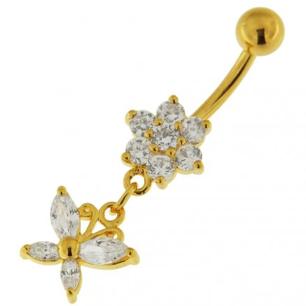 14G 10mm Yellow Gold Plated Silver Clear Jeweled Flower W/ Butterfly Belly Bar