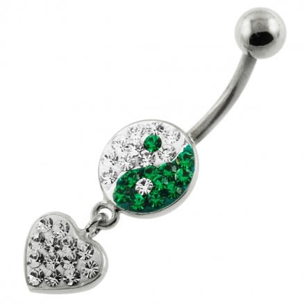 Multi Jeweled Ying Yang with Dangling Heart Navel Belly Piercing