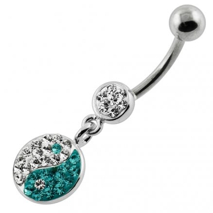 Multi Jeweled Ying Yang Navel Belly Piercing