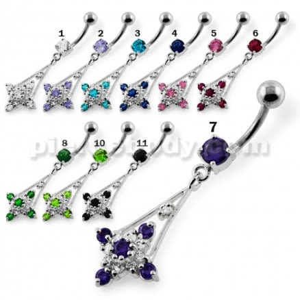 Fancy Jeweled Hanging Navel Belly Button Piercing