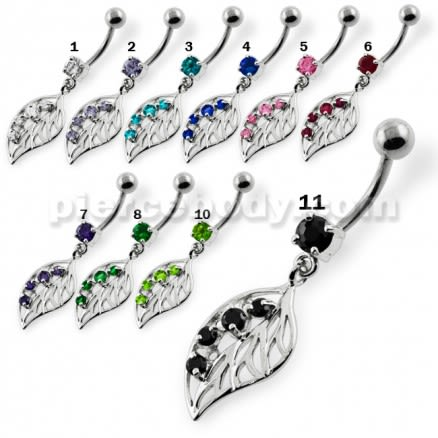 Jeweled Leaf Navel Belly Button Piercing