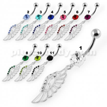Dangling Fancy Jeweled Wings Navel Belly Piercing