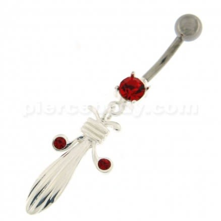 Butterfly with Long Tail Jeweled Belly Ring