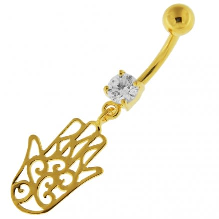 14G 10mm Yellow Gold Plated Sterling Silver Clear Jeweled Hamsa Hand Belly Bar