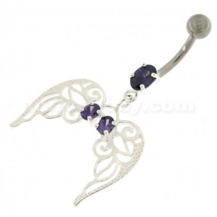 Angel Wings with Floral 925 Sterling Silver Belly Ring
