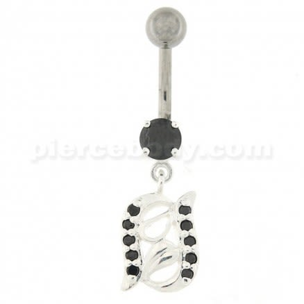 2 Rows of Jeweled CZ Dangling Navel Belly Ring