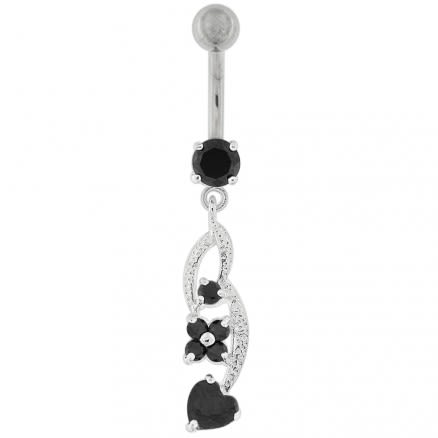 Flower with Heart Dangling Navel Belly Button Ring