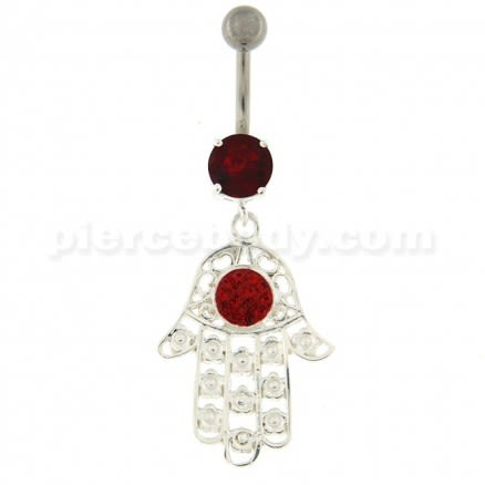 Hamsa Hand with Flowers Dangling Belly Button Ring