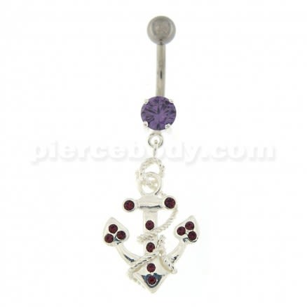 Jeweled Anchor with Rope Dangling Navel Belly Ring