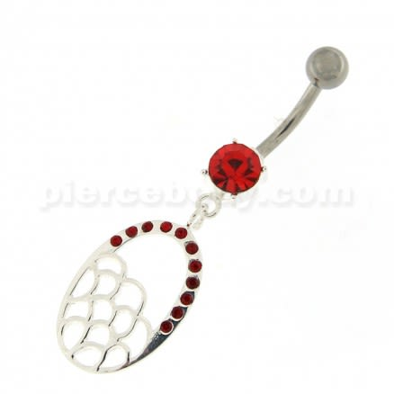 Multi Jeweled Oval Dangling Navel Belly Button Ring