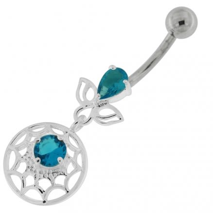 Jeweled Spider Web Dangling Navel Belly Ring