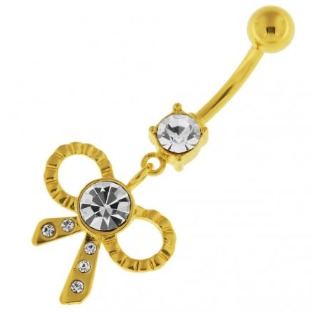 14G 10mm Yellow Gold Plated Sterling Silver Clear Jewel Fancy Bow Tie Belly Bar