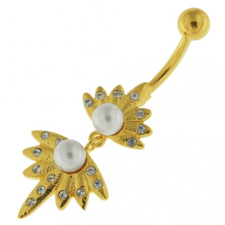 14G 10mm Yellow Gold Plated Sterling Silver Clear Jeweled Fancy Pearl Belly Bar
