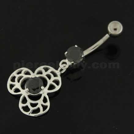 Center Jeweled Bio Hazard Sign Navel Belly Button Ring