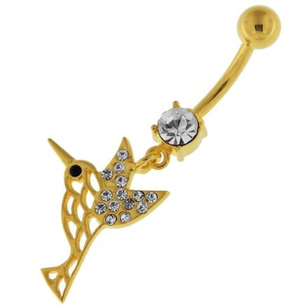 14G 10mm Yellow Gold Plated Silver Clear Jeweled Sparrow Cut out Belly Bar