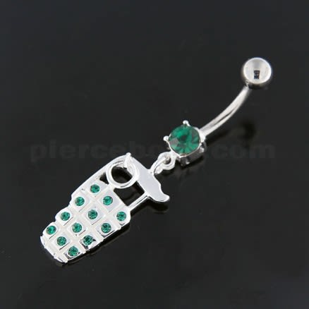 Jeweled Hand Grenade Navel Belly Button Ring