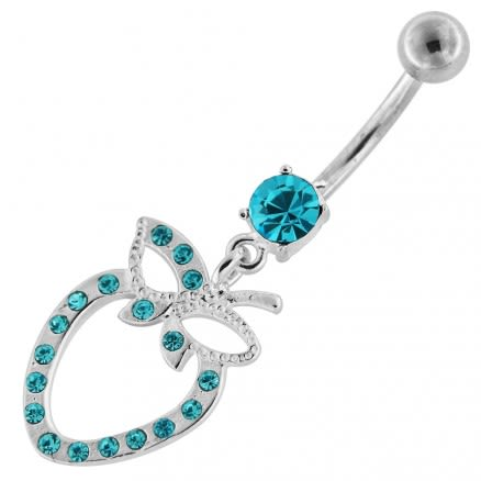 Dangling Floral Heart Flower Belly Button Ring
