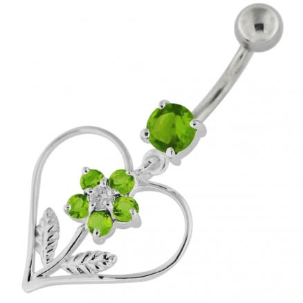 Jeweled Flower in Heart Sterling Silver Navel Belly Button Bar
