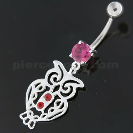 Sterling Silver Jeweled Owl Navel Belly Button Bar