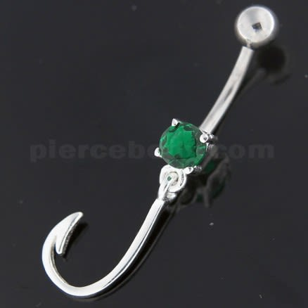 Sterling Silver Jeweled J Signed Navel Belly Button Bar