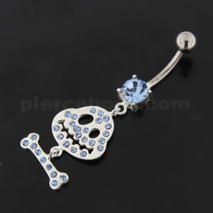Dangling Bone Mr. Jack Sterling Silver Belly Button Ring