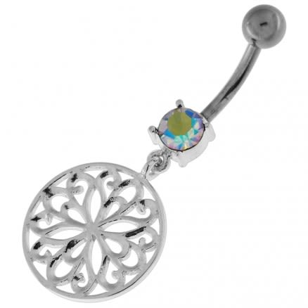 Flower Of Life Dangling Navel Belly Button Ring