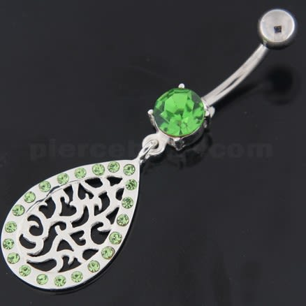 Sterling Silver Multi jeweled Tear Shape Belly Ring