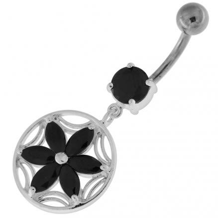Sterling Silver Dazzling Flower Filigree Navel Bar