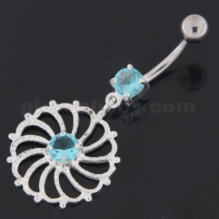 Sterling Silver center Jeweled Swirl Cut out Navel Bar