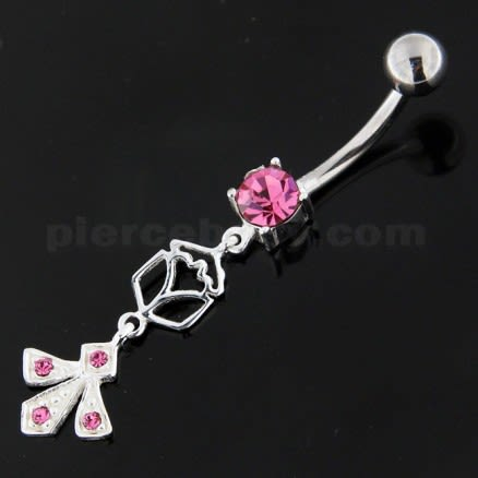 Fleur de lis fusion 925 Sterling Silver Belly Button Ring