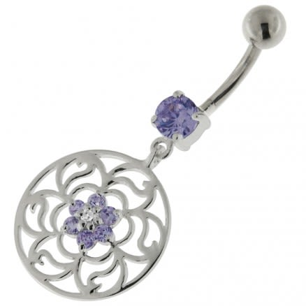 Center Flower with Floral 925 Sterling Silver Belly Button Ring