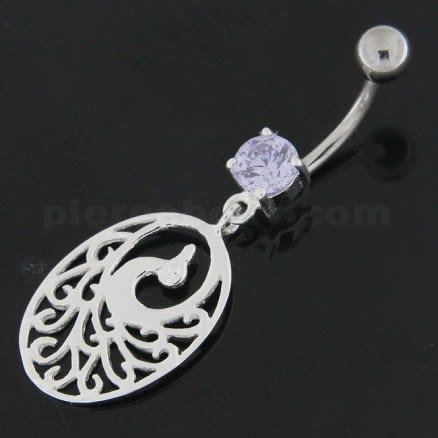 925 Sterling Silver Dancing Peacock Belly Button Ring