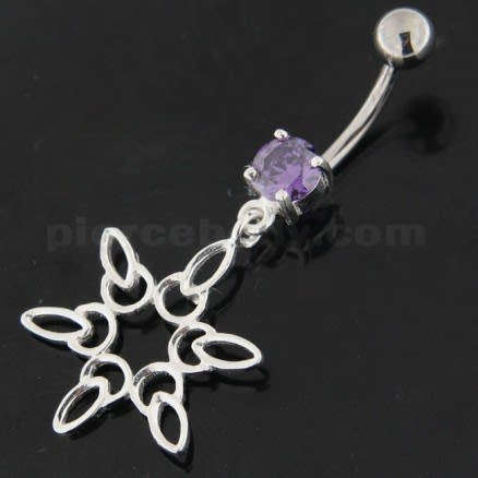925 Sterling Silver Snow Flake Navel Belly Ring