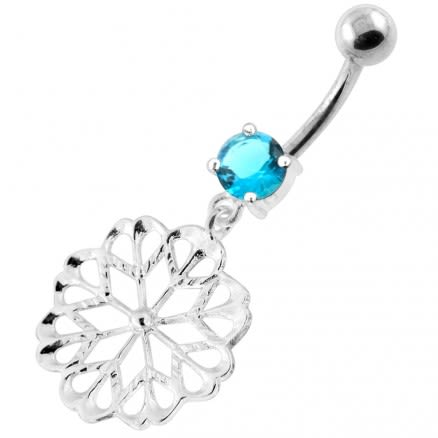 925 Sterling Silver center Jeweled Multi Point Star Cut out Belly Ring
