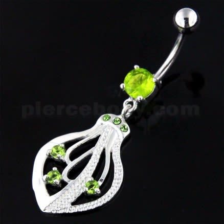 925 Sterling Silver Jeweled Squid Navel Belly Ring